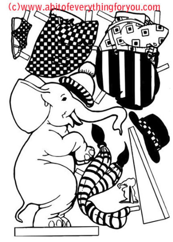 circus elephant carnival art clipart kids craft cutouts paper doll printable digital download coloring page die cuts graphics images