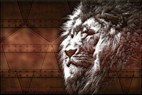 Printable Steampunk lion head copper metal Animal downloadable Wall Art home decor Gifts Digital Download mens home decor