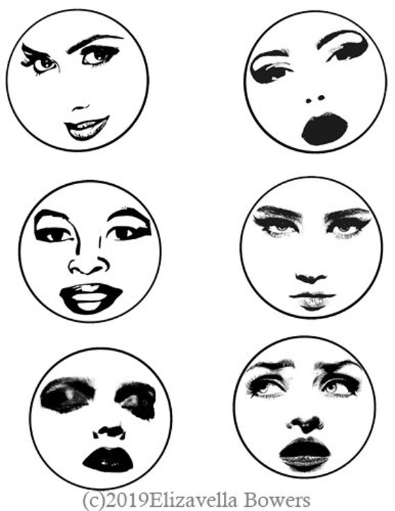 vintage pinup girl faces collage sheet 3 inch circles digital download art printable graphics images tags cards coasters scrapbooking