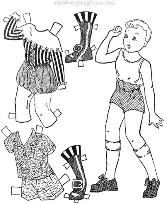 boy paper doll coloring page printable clipart digital download vintage images cut outs downloadable kids crafts line art