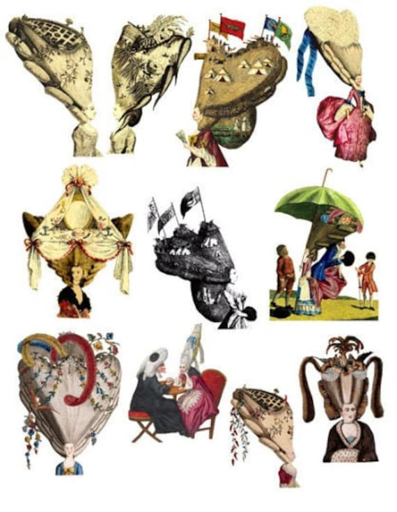 big hair victorian edwardian wig hair styles fashion art clipart digital download die cuts craft cut outs collage sheet images printables