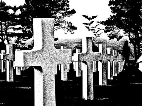 graveyard soldiers cemetery silhouette printable art print bats ghost woman supernatural art instant download digital image graphics spooky