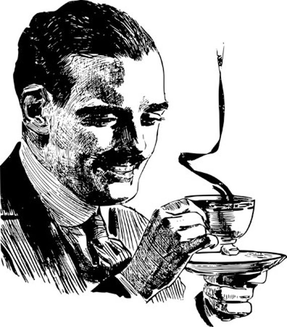 man with mustache drinking coffee printable art prints clipart png download digital image graphics downoadable food drink kitchen art