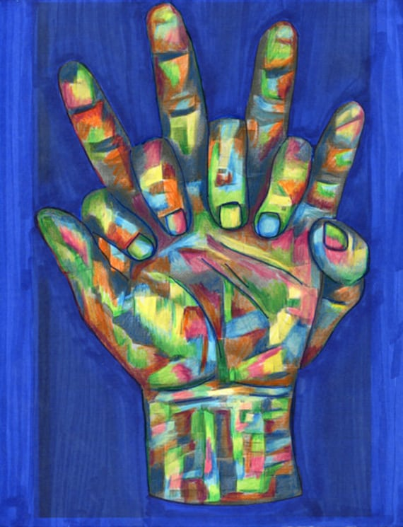 abstract hands holding original art colored pencil drawing peace colorful unity