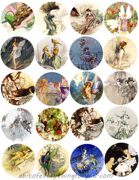 fairy fairies vintage art collage sheet 2 inch circles clipart digital downloadable fantasy fairytale printable images