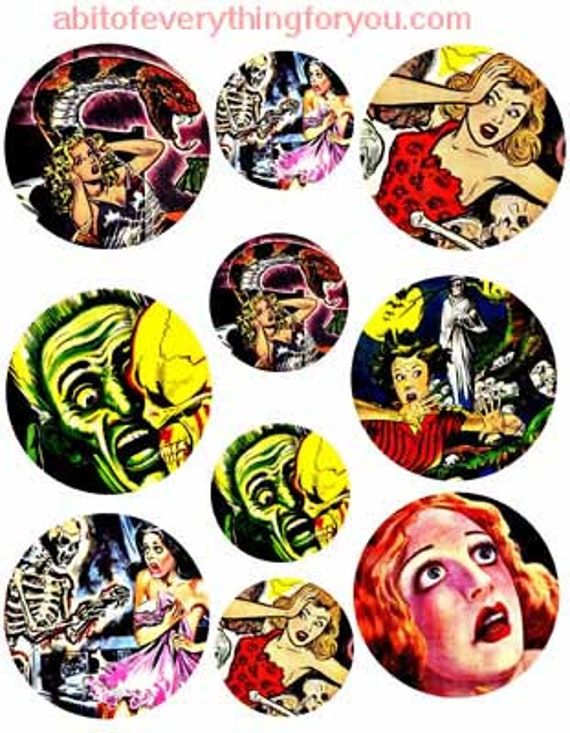 "vintage horror screaming women collage sheet 2"" and 3"" inch circle clipart digital downloadable printable images DIY Jewelry making"