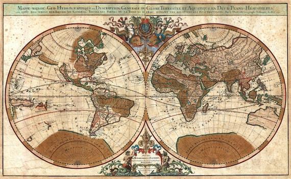 vintage antique Sanson map of the world 1691 printable digital download images graphics poster