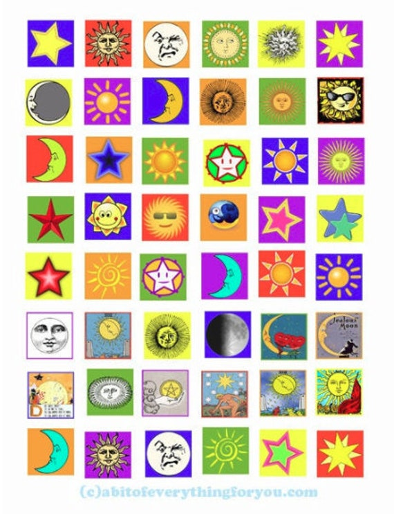 """moon stars celestial clipart collage sheet 1"""" inch squares pendants digital download graphics images printables"""