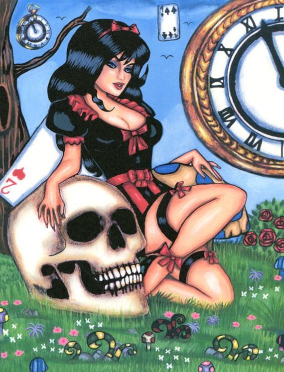 Gothic Alice In Wonderland art print pinup girl original artwork skull fantasy goth sci fi dark fairy tales