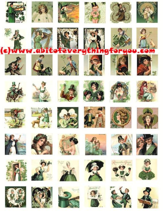 saint pattys day st patricks day irish clip art digital download collage sheet 1 inch squares vintage graphics images printables pendants