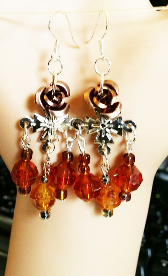 Victorian style brown rose chandelier earrings cross beaded dangles handmade flower roses jewelry