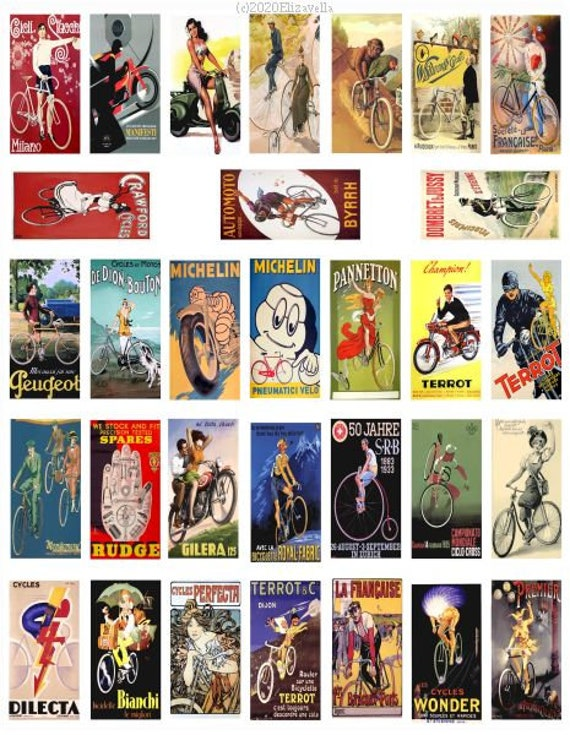 "vintage bike and motorcycle advertisements clipart digital download domino collage sheet 1"" x 2"" inch graphics images printables"