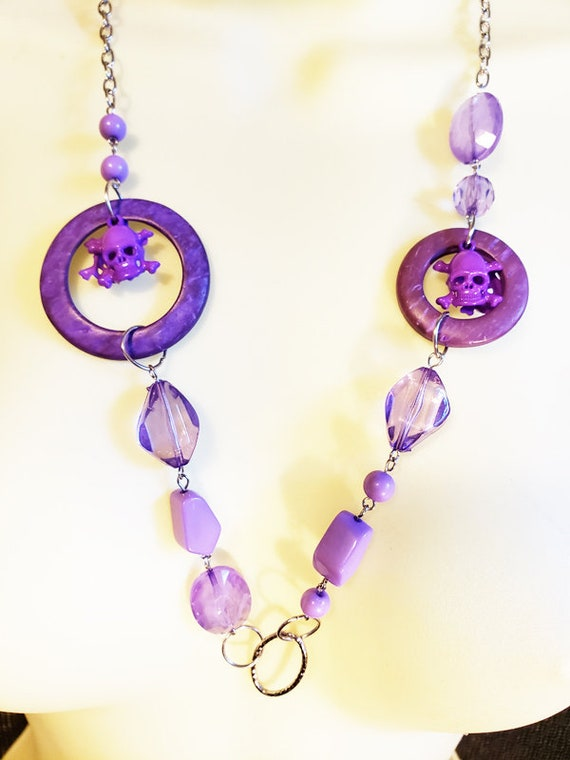 Purple beaded skull necklace plastic beads handmade jewelry punk halloween pirate