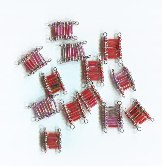 13 red beads glass acrylic beaded wire pins lot jewelry crafts findings