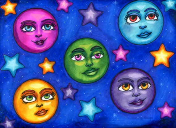 moon faces original art drawings markers fantasy celestial fairytale pen ink artwork Elizavella montana artist