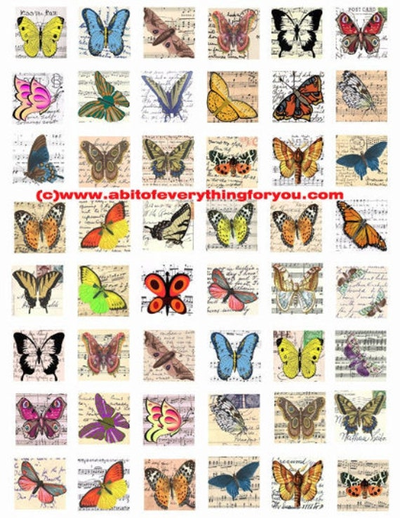 """vintage butterfly postcards clipart digital download collage sheet 1"""" inch squares images pendant pin magnet printables"""