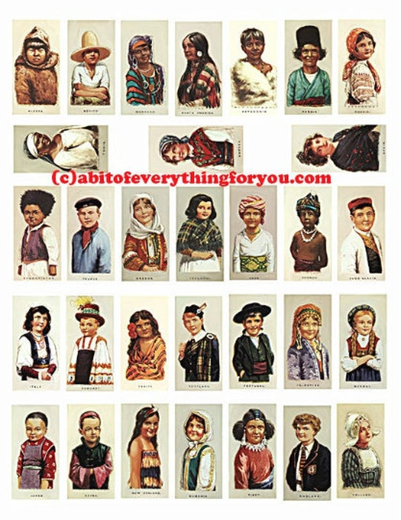"international ethnic children domino downloadable collage sheet 1""x2"" inch download graphics digital vintage cigarette card images printable"