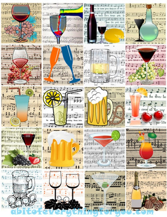 alcohol booze drinks clip art digital download collage sheet 2 inch squares party sheet music graphics images printables pendants pins
