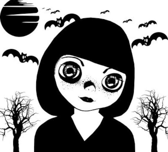 creepy big eyes goth girl printable art clipart png jpg download digital image trees bats moon halloween instant downloadable print graphics