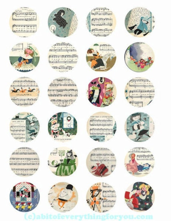 collage sheet 1.5 inch circles vintage childrens songs sheet music art clip art digital downloadable graphics images pendant printables