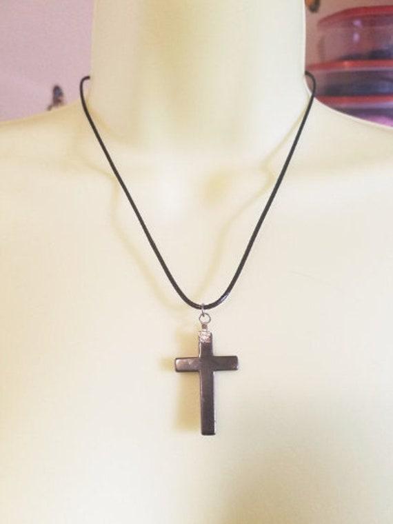 black hematite stone cross necklace gemstone pendant cord religious jewelry