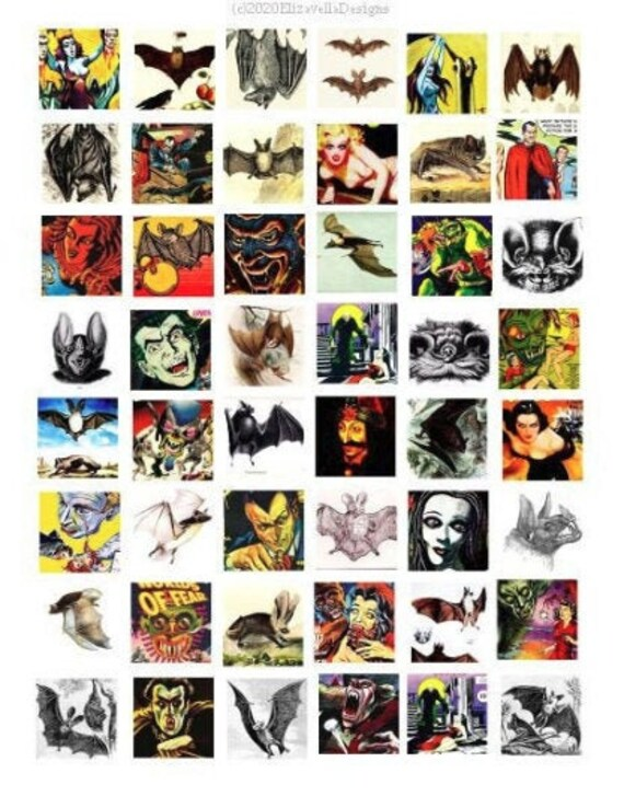 """creatures monsters movies posters comics printables collage sheet 1"""" inch squares digital instant download horror images"""