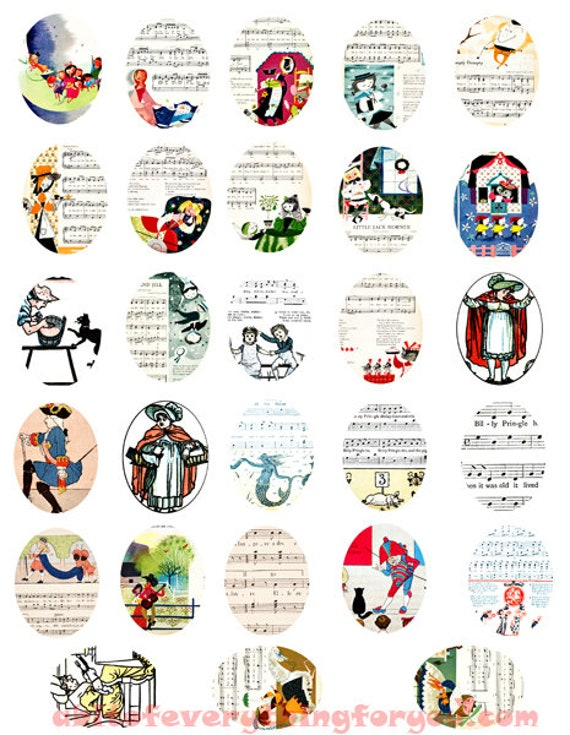 vintage childrens songs sheet music art clipart digital download collage sheet 30mm x 40mm ovals graphics downloadable images printables