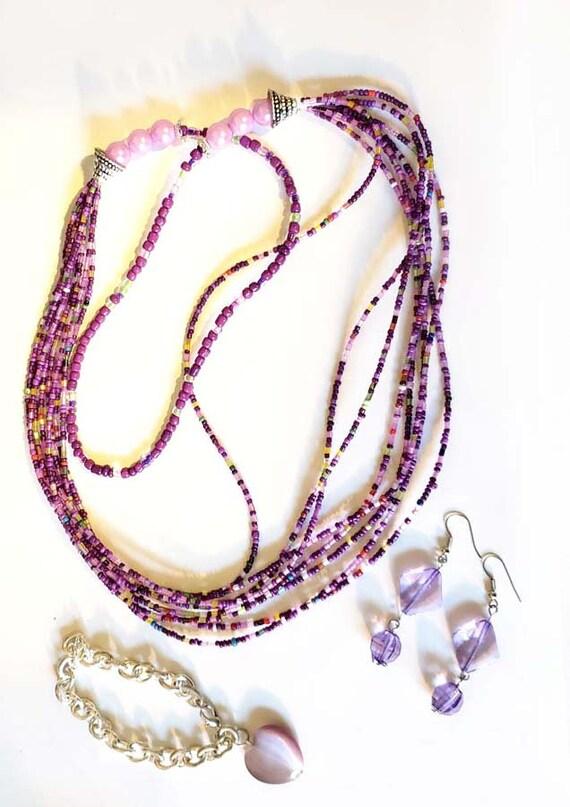 3 purple jewelry lot handmade bead earrings glass beaded necklace heart chain bracelet plastic glass
