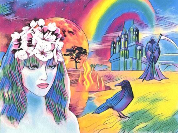 dont fear reaper abstract surreal original fantasy art print queen rainbow crow castle colorful artwork