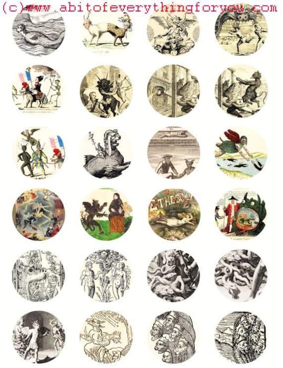 vintage creatures monsters clip art digital download collage sheet 1.5 inch circles graphics images printables pendants magnets
