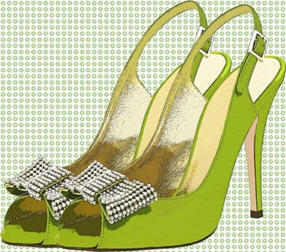 high heel shoes printable original art print Green rhinestone bow instant digital download image graphics fashion art living room bedroom