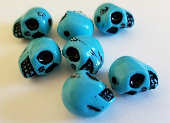 7 blue plastic sugar skull beads acrylic 14mm jewelry making supplies
