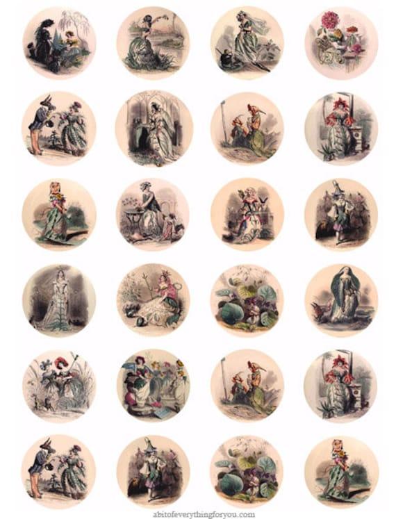 garden fairies flower fairy collage sheet 1.5 inch circles digital download graphics vintage fantasy images bottlecap pendant printables