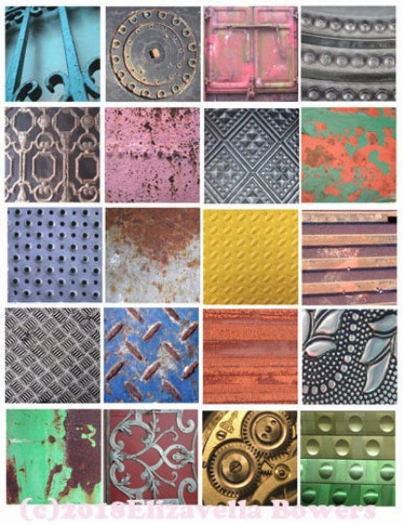"""collage sheet metals grunge digital download 2"""" inch squares graphics steampunk images printables diy crafts jewelry making scrapbooking"""