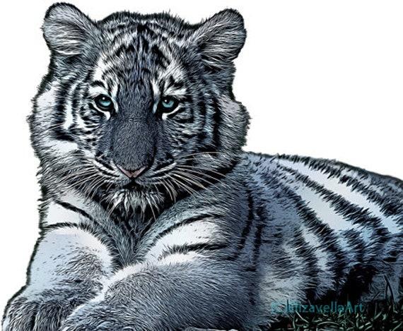 colorful white maltese tiger cub animal art clipart printable wall art digital downloadable jungle safari nature image graphics diy crafts