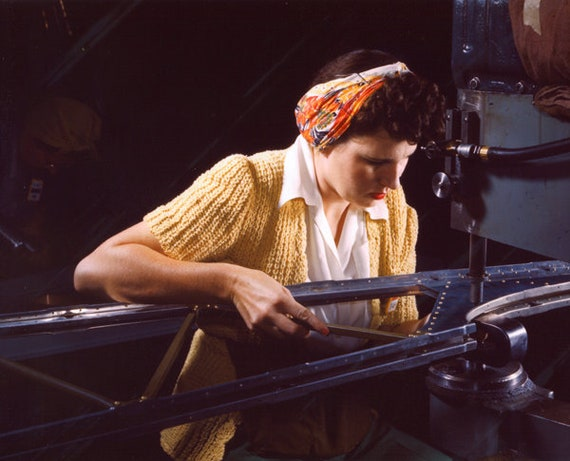 1940s woman riveting work in factory vintage color photograph print reproduction