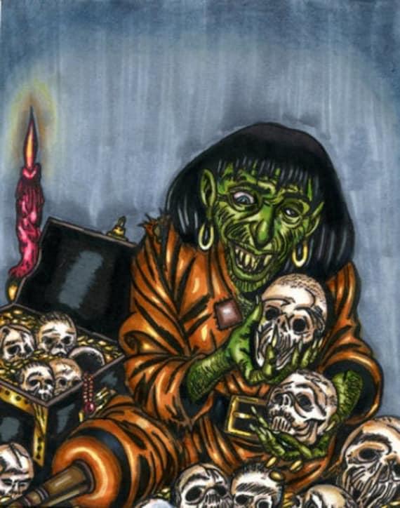 Pirate Zombie horror comics Ghoul buried treasure original art drawing markers artwork illustrations