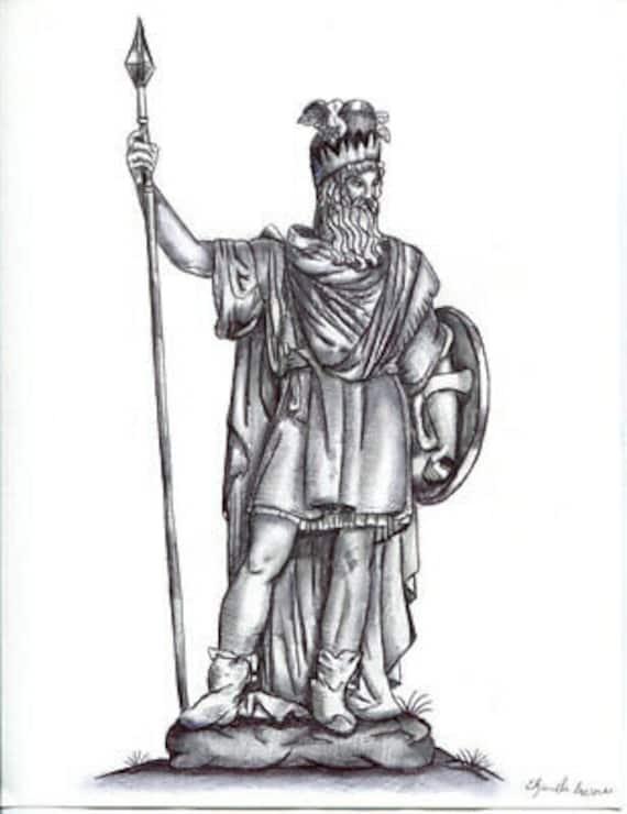 Odin Norse God man mythology pen ink DRAWING ORIGINAL art fantasy illustration