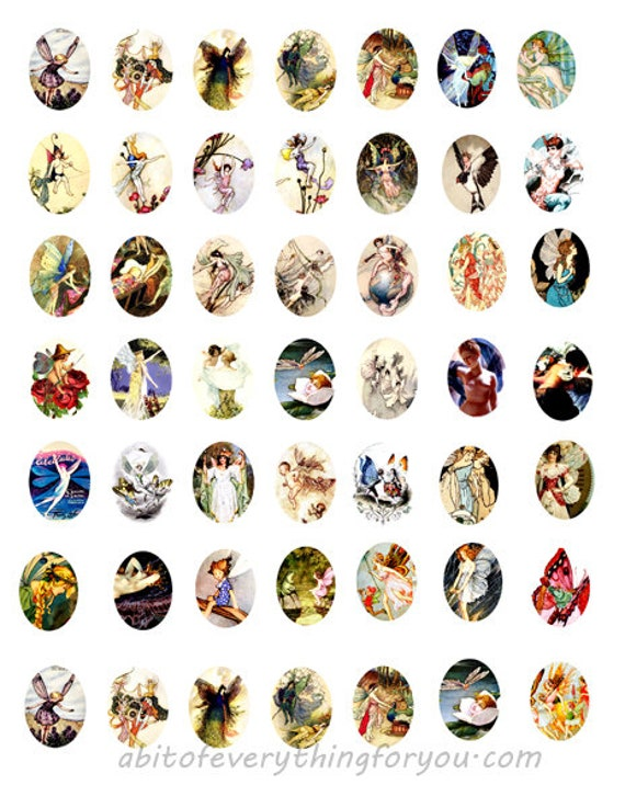 victorian vintage fairy fairies collage sheet 18mmx25mm oval cameos clip art digital downloadable graphics images pendant printables