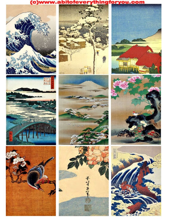 "vintage japanese watercolor landscapes waterfall flowers collage sheet 2.5"" x 3.5"" inch clipart aceo images digital download printables"