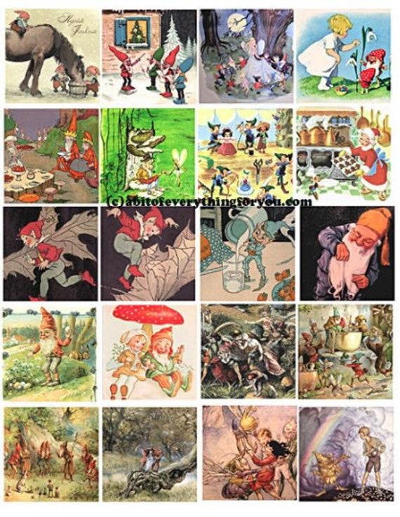 vintage elf gnome dwarf clip art digital download collage sheet 2 inch squares vintage art graphics downloadable images printables