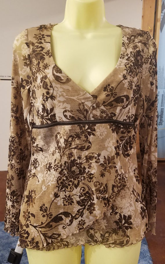 brown floral sheer top blouse womens long sleeves flowers shirt sz medium sheer v neck 1990s clothing