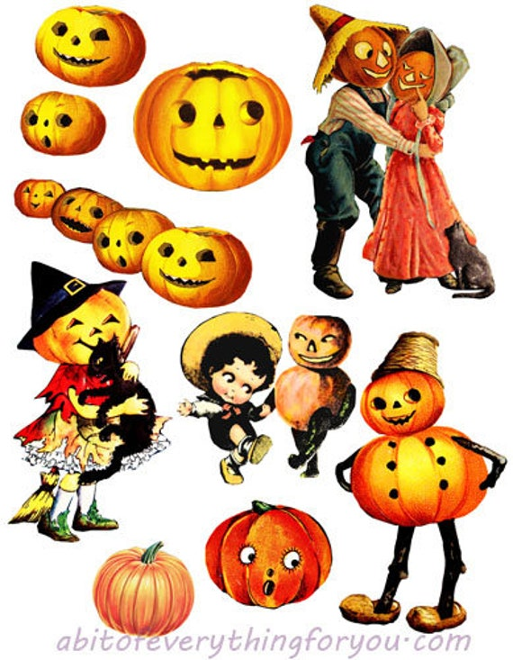 vintage halloween jacko lanterns pumpkins die cuts clipart digital instant download craft printables cut outs collage graphics images crafts