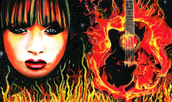 flaming guitar, fire woman, acrylic portrait painting, original art portraits painting, music painting, pop rock and roll flames art
