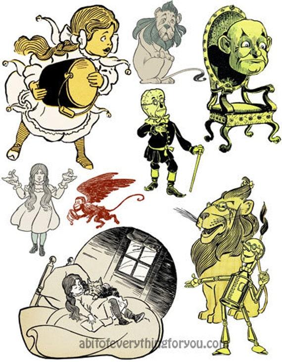 vintage wizard of Oz Art die cuts clipart digital instant download craft printables downloadable art collage graphics images DIY crafts