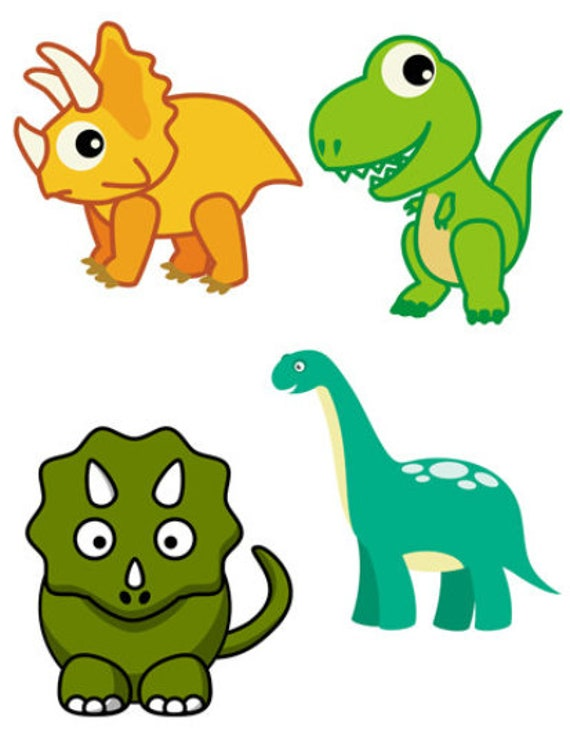 cartoon dinosaurs clipart png jpg die cuts childrens printable art images digital download craft cut outs diy print outs
