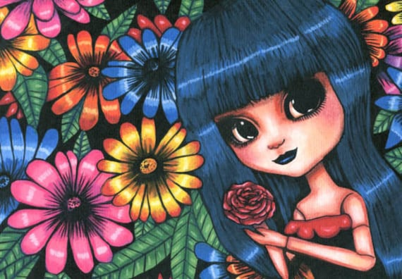 big eye gothic girl doll flowers original art print big eyes painting modern lowbrow artwork