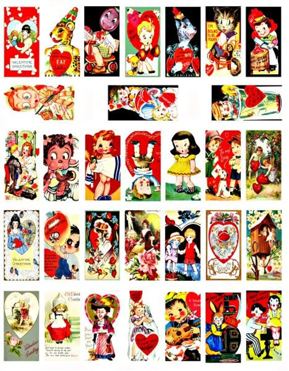 """vintage Valentines cards domino collage sheet 1"""" X 2"""" inch graphics images clipart digital download love romance printables pendants pins"""