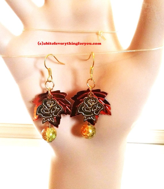brown and gold leaf rose flower earrings, dangles bead drop sequins charms handmade jewelry
