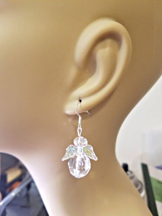 clear Bead Guardian Angel earrings dangle crystal drop plastic handmade beaded jewelry